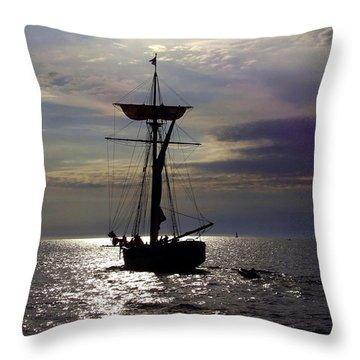 Friends Good Will Tall Ship Silhouette Throw Pillow by Richard Gregurich