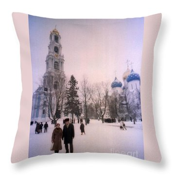 Friends In Front Of Church Throw Pillow by Ted Pollard