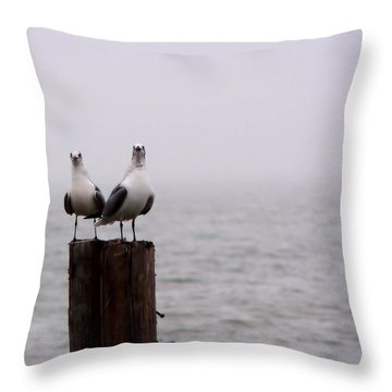 Friends In The Fog Throw Pillow