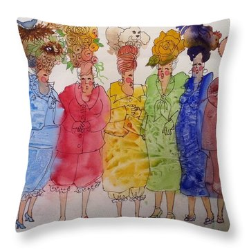 The Crazy Hat Society Throw Pillow by Marilyn Jacobson