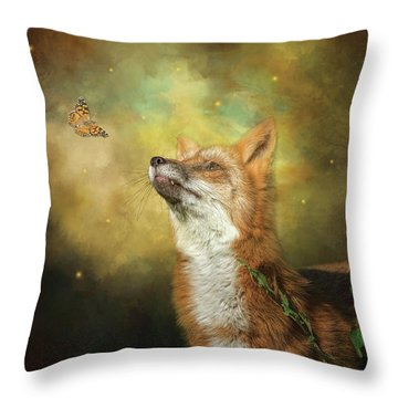 Friends On A Firefly Evening Throw Pillow