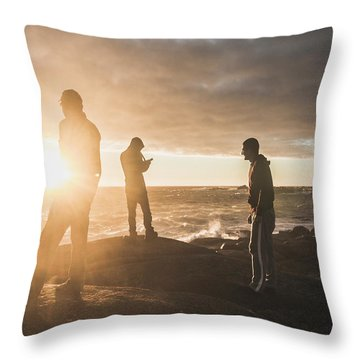 Throw Pillow featuring the photograph Friends On Sunset by Jorgo Photography - Wall Art Gallery