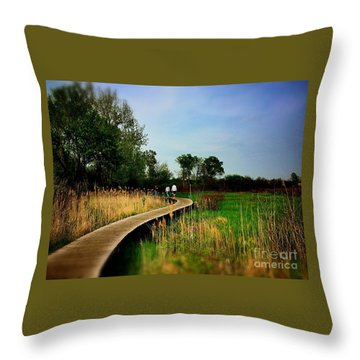 Friends Walking The Wetlands Trail Throw Pillow