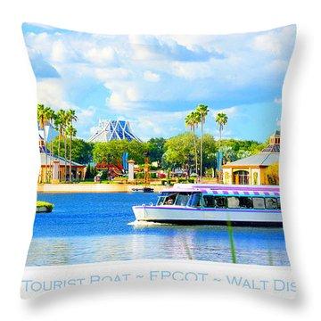 Friendship Boat On The Lagoon Epcot Walt Disney World Throw Pillow