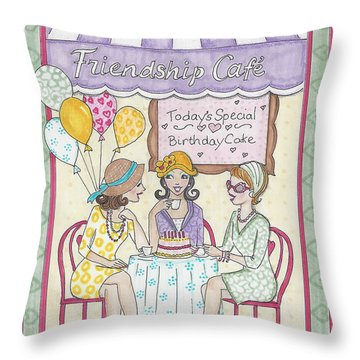 Friendship Cafe Throw Pillow