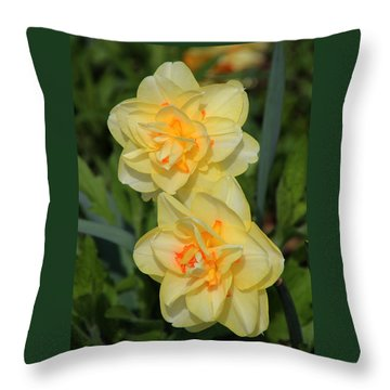 Friendship Daffodils Throw Pillow by Rosanne Jordan