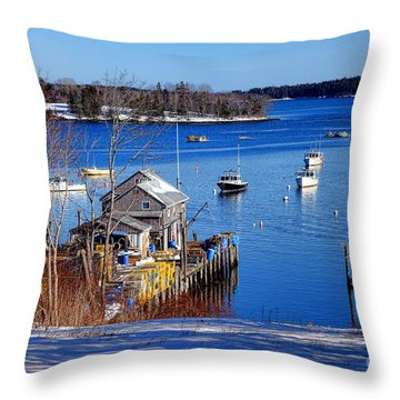 Throw Pillow featuring the photograph Friendship Harbor In Winter by Olivier Le Queinec