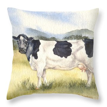 Throw Pillow featuring the painting Friesian Cow by Sandra Phryce-Jones