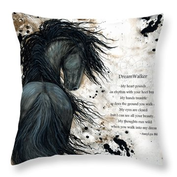 Friesian Dreamwalker Horse Throw Pillow