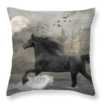 Friesian Fantasy  Throw Pillow by Fran J Scott