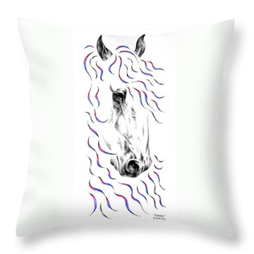 Friesian Horse Nobility Throw Pillow by Kelli Swan