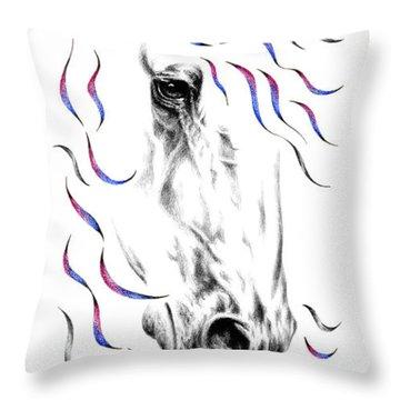 Friesian Horse Nobility Throw Pillow