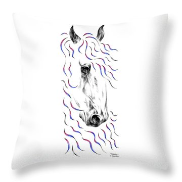 Friesian Horse Nobility Throw Pillow
