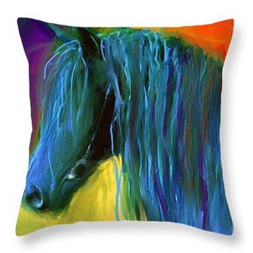 Friesian Horse Painting 2 Throw Pillow by Svetlana Novikova