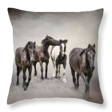 Friesian Horses The Boys And Baby Sister Throw Pillow