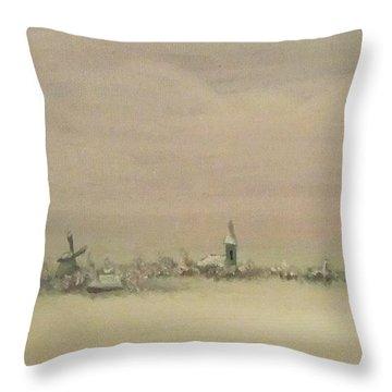 Friesland Under Snow Throw Pillow by Annemeet Hasidi- van der Leij
