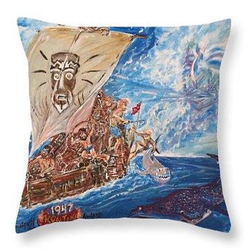 Friggin In The Riggin - Kon Tiki Expedition Throw Pillow