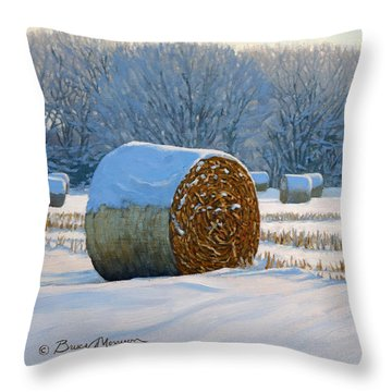 Frigid Morning Bales Throw Pillow by Bruce Morrison