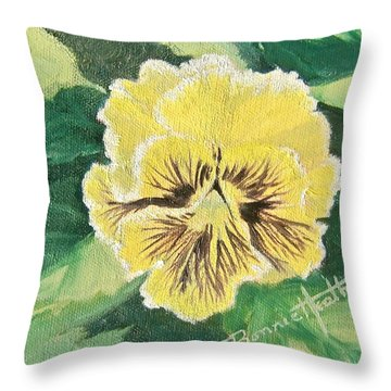 Frilly Yellow Pansy Throw Pillow
