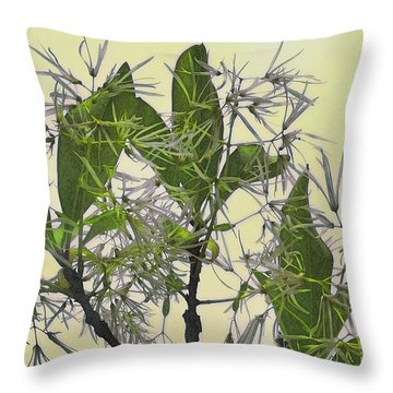 Fringe Tree Throw Pillow by David Klaboe