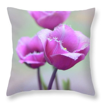 Throw Pillow featuring the photograph Fringe Tulips by Jessica Jenney