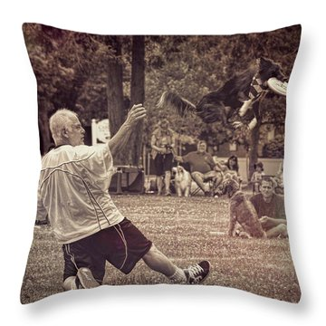 Throw Pillow featuring the photograph Frisbee Catcher by Lewis Mann