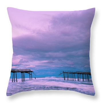 Throw Pillow featuring the photograph Frisco Fishing Pier And Clouds Panorama by Ranjay Mitra