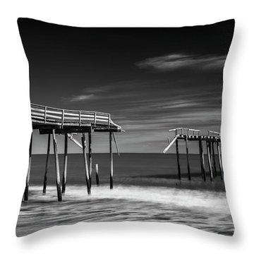 Throw Pillow featuring the photograph Frisco Fishing Pier In Black And White Panorama by Ranjay Mitra