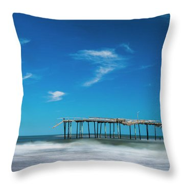 Throw Pillow featuring the photograph Frisco Fishing Pier In North Carolina Panorama by Ranjay Mitra