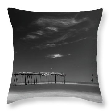Throw Pillow featuring the photograph Frisco Pier In North Carolina And Clouds In Black And White by Ranjay Mitra