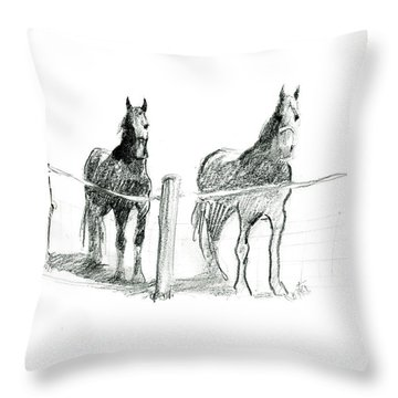 Friesian Horses Throw Pillow