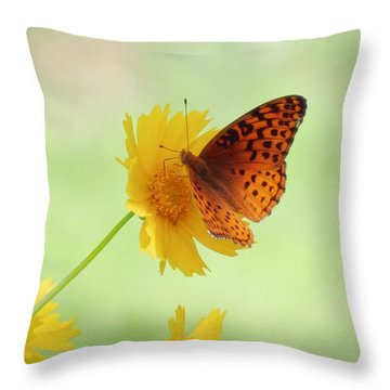 Fritillary Fun Throw Pillow by MTBobbins Photography