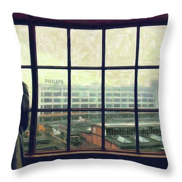 Frits Is Overlooking His Philips Plants In Eindhoven Throw Pillow by Nop Briex