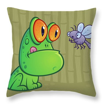 Frog And Dragonfly Throw Pillow by John Schwegel