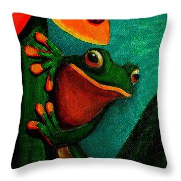 Frog And Ladybug Throw Pillow by Nick Gustafson