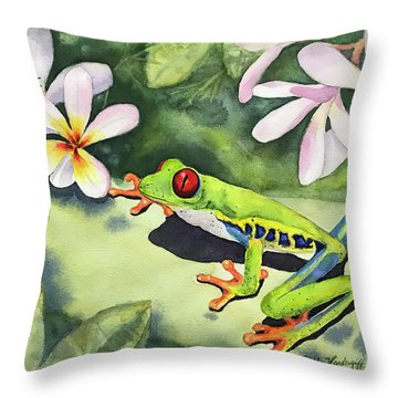 Frog And Plumerias Throw Pillow