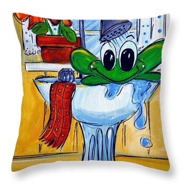 Frog Bath Throw Pillow