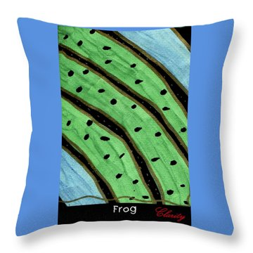 Throw Pillow featuring the painting Frog by Clarity Artists