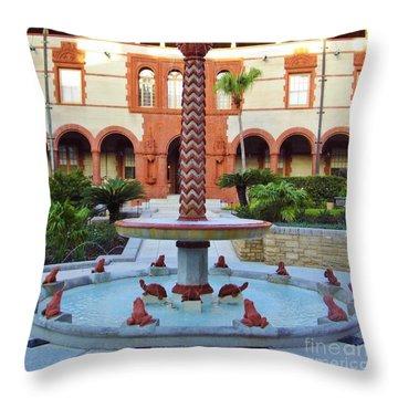 Frog Fountain Throw Pillow