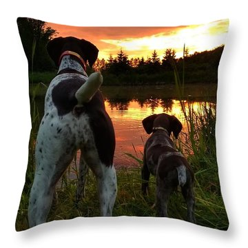 Frog Hunters 2 Throw Pillow