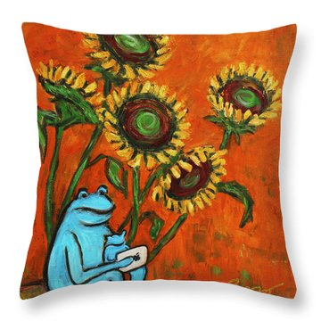Frog I Padding Amongst Sunflowers Throw Pillow by Xueling Zou