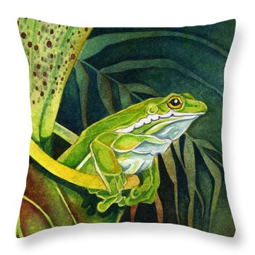 Frog In Pitcher Plant Throw Pillow