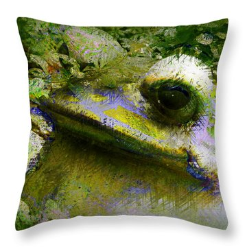 Frog In The Pond Throw Pillow by Lori Seaman