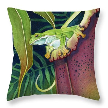 Frog In Tropical Pitcher Throw Pillow