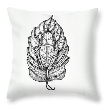 Frog On A Leaf Throw Pillow by Nick Gustafson