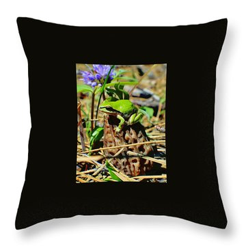 Frog On A Morel Throw Pillow