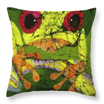 Frog On Gingko Throw Pillow
