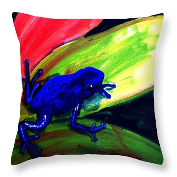 Frog On Leaf Throw Pillow by Michael Grubb