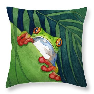 Frog On The Look Out Throw Pillow