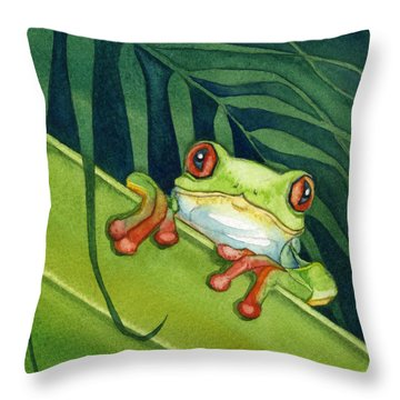 Frog Peek Throw Pillow